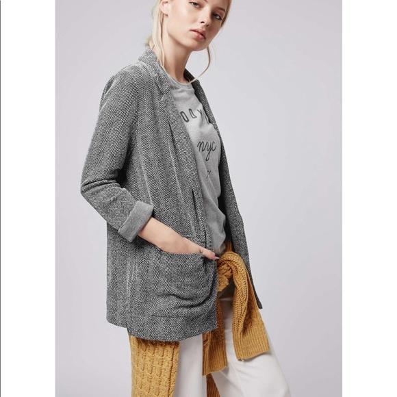 34ccb5c0c4de Topshop Jackets & Coats   Petit Chevron Print Textured Blazer 6p ...